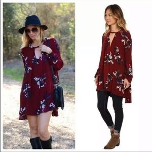 Free People Burgundy Floral Tree Swing Tunic Med